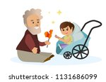 vector illustration grandfather ... | Shutterstock .eps vector #1131686099