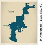 modern city map   tampa florida ... | Shutterstock .eps vector #1131686759