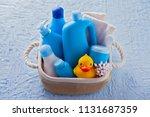 basket of baby cosmetics on... | Shutterstock . vector #1131687359