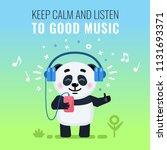 cute little panda listening to... | Shutterstock .eps vector #1131693371