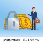 cheerful businessman stands... | Shutterstock .eps vector #1131704747