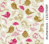 seamless pattern with feathers... | Shutterstock . vector #113170489