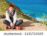 happy smiling redhead women is... | Shutterstock . vector #1131713105