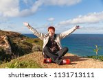 happy wide smiling redhead... | Shutterstock . vector #1131713111