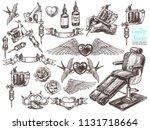 hand drawn vector tattoo studio ... | Shutterstock .eps vector #1131718664