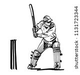 vector sketch the cricket player | Shutterstock .eps vector #1131723344