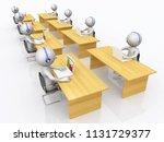 call center with 3d figures... | Shutterstock . vector #1131729377