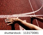 hands on starting line | Shutterstock . vector #113173081