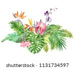 bright tropical border with... | Shutterstock . vector #1131734597