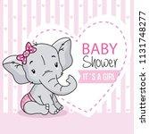 baby girl arrival card. cute...   Shutterstock .eps vector #1131748277