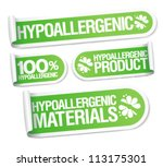 Hypoallergenic products stickers set. - stock vector