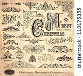 vector set of christmas vintage ... | Shutterstock .eps vector #113175355