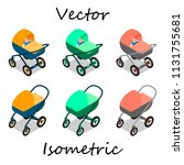 baby carriages in isometrics in ... | Shutterstock .eps vector #1131755681