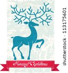 Christmas deer with red ribbon, beautiful vintage  illustration, vector - stock vector