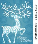 Christmas deer with Merry Christmas, beautiful illustration, vector - stock vector
