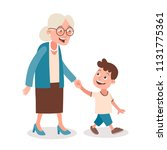 grandmother and grandson... | Shutterstock .eps vector #1131775361