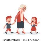 grandmother with her... | Shutterstock .eps vector #1131775364