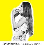 funny crazy glamor stylish sexy ... | Shutterstock . vector #1131784544
