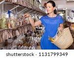 happy cheerful positive  woman... | Shutterstock . vector #1131799349