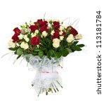 Stock photo bouquet of white and red roses isolated on white 113181784