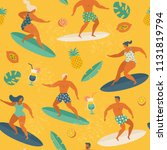 surfing girls and boys on the... | Shutterstock .eps vector #1131819794
