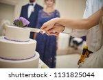 wedding  cake  bride and... | Shutterstock . vector #1131825044