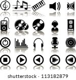 set of 20 music icons
