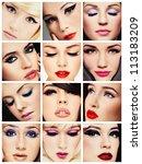 collage. beautiful young women... | Shutterstock . vector #113183209