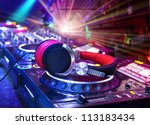 dj mixer with headphones at... | Shutterstock . vector #113183434