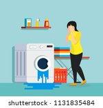 broken washing machine and sad...   Shutterstock .eps vector #1131835484