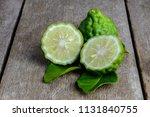 fresh bergamot fruit on wooden...   Shutterstock . vector #1131840755
