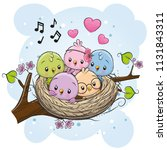 Cute Cartoon Birds In A Nest On ...