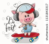 cute pig with a blue and red... | Shutterstock .eps vector #1131843317