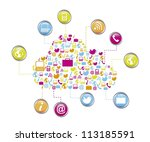 cloud computing with icons... | Shutterstock .eps vector #113185591