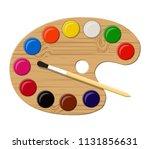 wooden art palette with paints...   Shutterstock .eps vector #1131856631