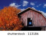 Old Barn With Autumn Color.
