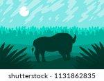 landscape with wild bizon on... | Shutterstock .eps vector #1131862835