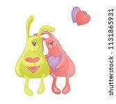 two lovely cartoon rabbits....   Shutterstock .eps vector #1131865931