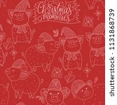 doodle christmas pig. christmas ... | Shutterstock .eps vector #1131868739