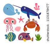 marine life vector collection... | Shutterstock .eps vector #1131878477