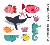 marine life vector collection... | Shutterstock .eps vector #1131878501