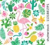 flamingo summer seamless pattern | Shutterstock .eps vector #1131881591