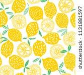 lemon seamless pattern vector... | Shutterstock .eps vector #1131881597