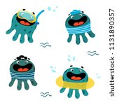 cute octopus set. cartoon... | Shutterstock .eps vector #1131890357