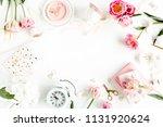fashion blog pink style desk... | Shutterstock . vector #1131920624