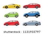set of modern cars in flat... | Shutterstock . vector #1131933797
