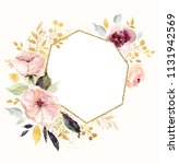 hand drawn watercolor floral... | Shutterstock . vector #1131942569