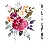 bouquet of beautiful watercolor ... | Shutterstock . vector #1131942584
