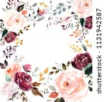 beautiful floral watercolor... | Shutterstock . vector #1131942587
