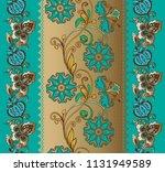 fantastic turquoise floral...   Shutterstock .eps vector #1131949589